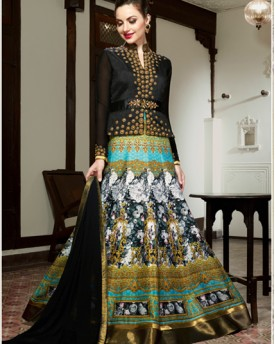 Designer Evening Gown With English Floral Print