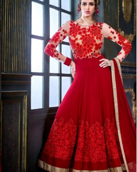Amazing Red Hot Anarkali Gown