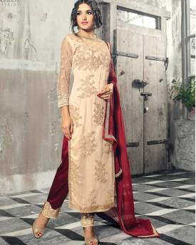 Designer Cream and Maroon Salwar Kameez