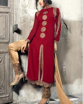 Designer Gold Maroon Salwar Kameez