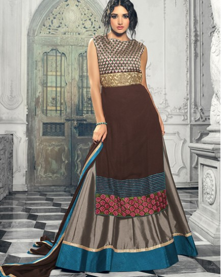 Brown designer embroidred lehenga choli