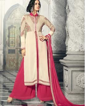 Designer Cream And Pink Salwar Kameez