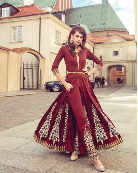 Maroon Amazing Revamping Gown style