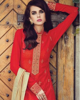 Red Colour Candid Style Gown