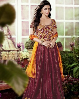 Designer Chanderi Fabric With Thread And Zari Lehanga