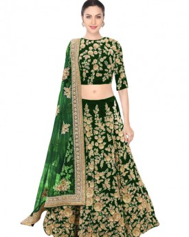 Green dori work velvet lehenga choli
