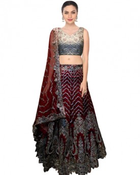 Designer Maroon lehenga with cutwork