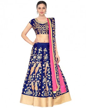 Royal blue dori work raw silk lehenga choli