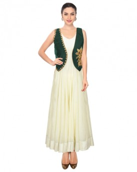 Green designer embroidered Gown