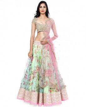 Designer Green digital print lehenga choli