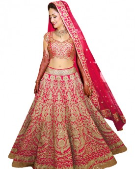 Pink designer embroidred lehenga choli