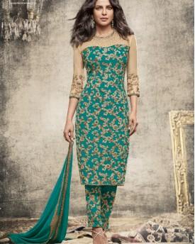 Designer Dyed Georgette Turquoise Salwar Kameez