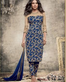 Designer Dyed Georgette Blue Salwar Kameez