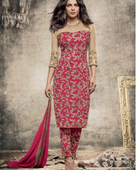 Designer Dyed Georgette Red Salwar Kameez