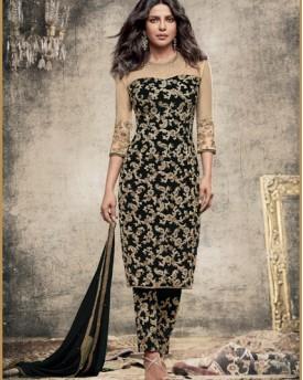 Designer Dyed Georgette Black Salwar Kameez
