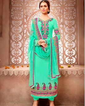 Designer Georgette Suit With Embroidery With Hand Work Salwar