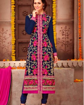 Designer Georgette Suit With Embroidery Fancy Sleeves