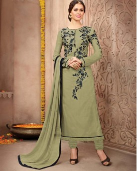Designer Georgette Smoke With Heavy Embroidery Salwar