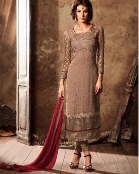 Designer Georgette Top Salwar With Chiffon Dupatta