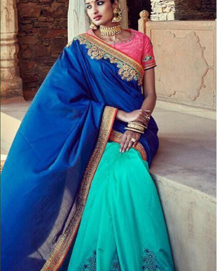 Amazing Designer Silk Saree With Tussar Silk Skirt