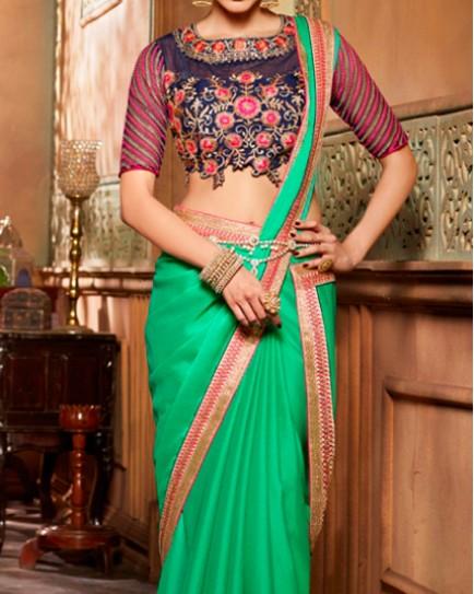 Amazing Light Green Designer Saree