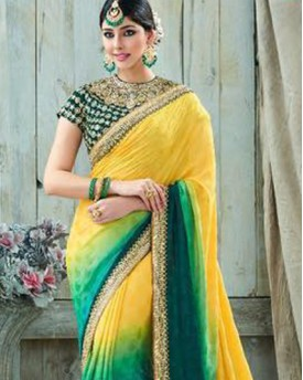 Amazing Yellow Colour Saree with Green Blouse