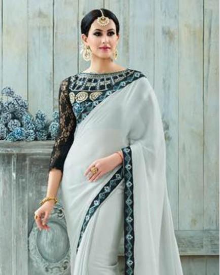 Amazing Silver and Black Combination Saree