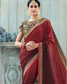 Amazing Maroon Colour Saree