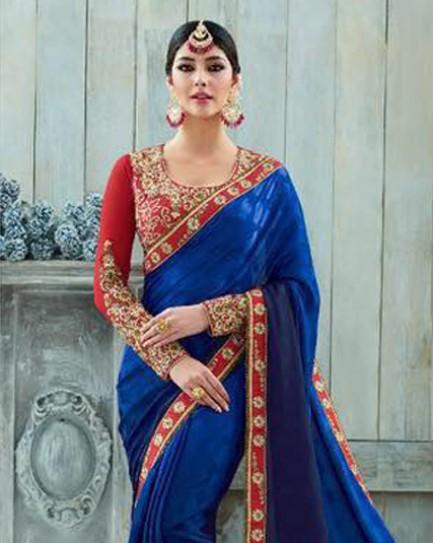 Amazing Blue and Maroon Saree