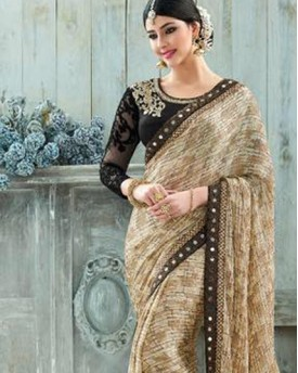 Golden and Black Saree with amazing net Blouse