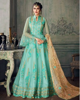 Sea Green Heavy Net Salwar Suit