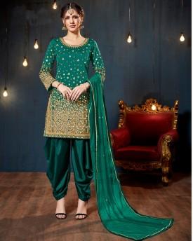 Green Mirror Work Salwar Suit