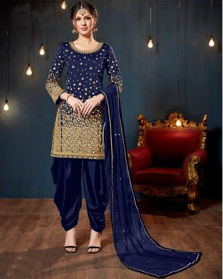 Navy Blue Mirror Work Salwar Suit