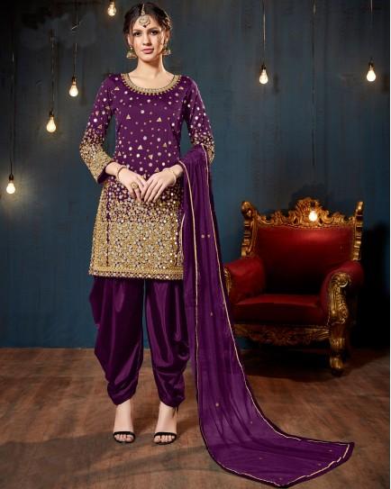 Purple Mirror Work Salwar Suit