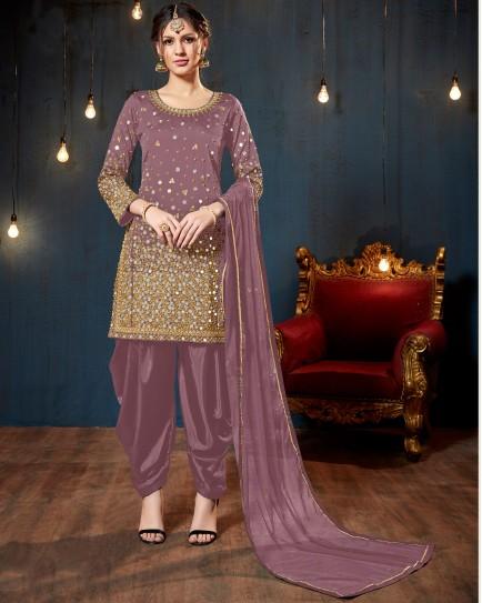 Lavender Mirror Work Salwar Suit
