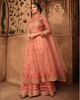 Peach Heavy Anarkali Suit