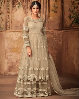 Cream Heavy Anarkali Suit