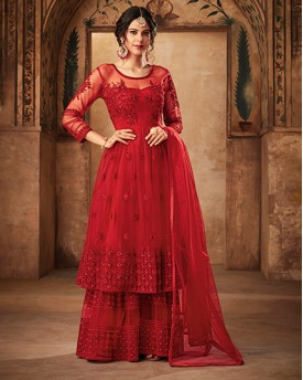 Red Heavy Anarkali Suit