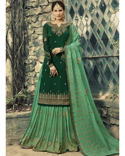 green sharara suit