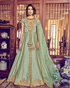 Sea Green Heavy Anarkali Suit