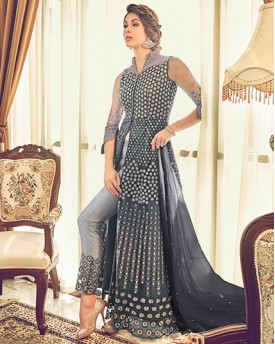 Grey Heavy Anarkali Suit
