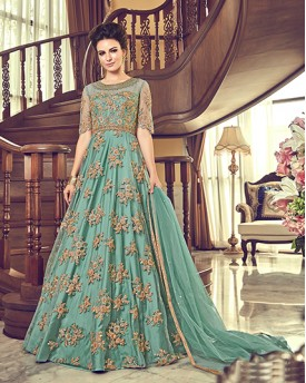 Green Heavy Anarkali Suit