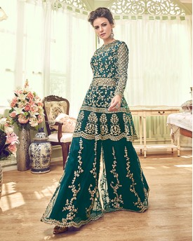 Dark Green Heavy Anarkali Suit